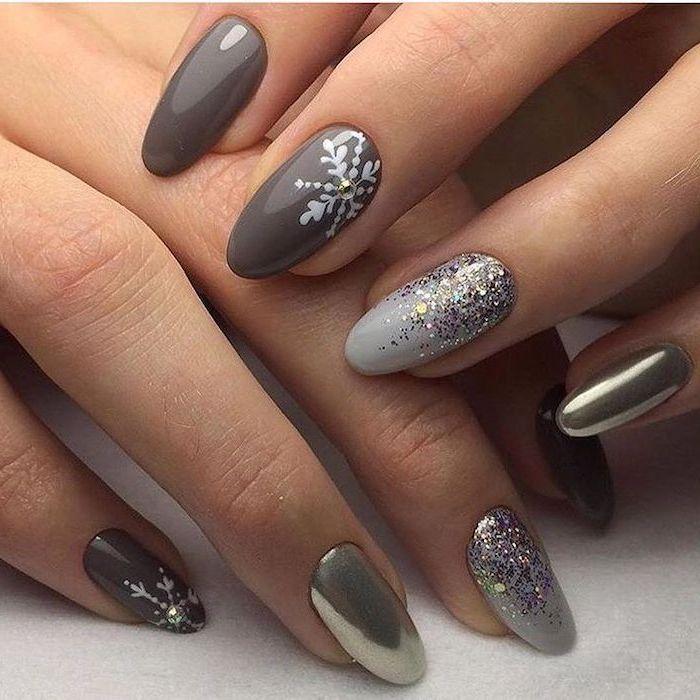 grey and gold metallic nail polish, christmas nail colors, silver glitter and snowflakes decorations