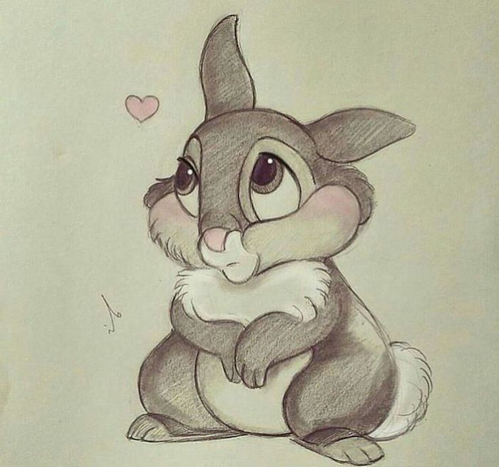 small bunny with rosy cheeks, pink heart in the corner, colored drawing, white background, cute drawing ideas