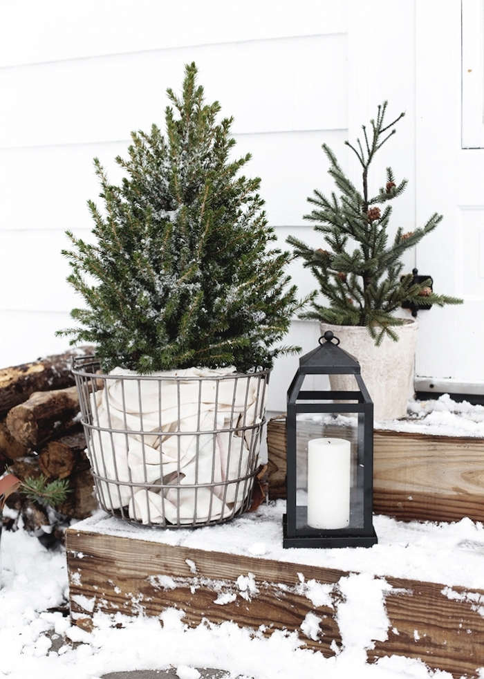 small trees in pots, candle lantern, placed in the snow, on wooden staircase, grinch outdoor christmas decorations