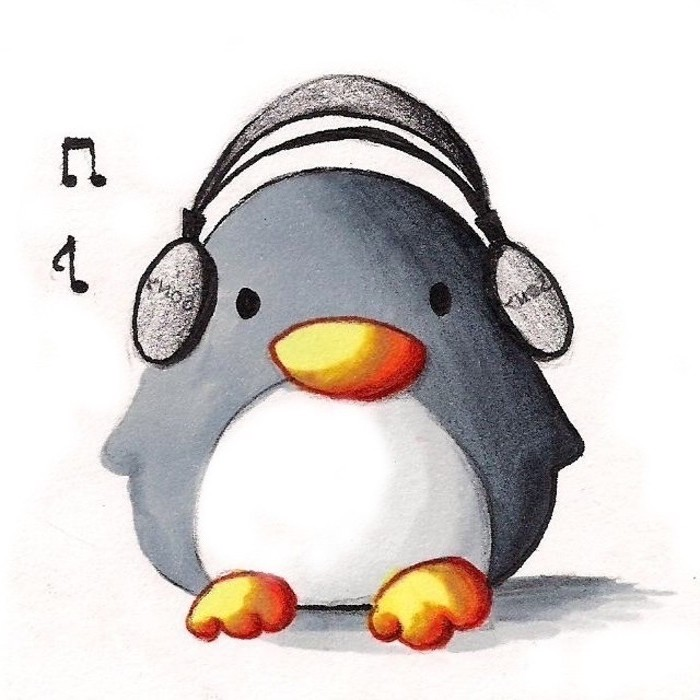 baby penguin with headphones on, listening to music, colored drawing on white background, what to draw when bored