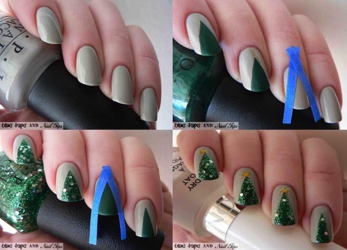 photo collage of step by step diy tutorial, winter nail ideas, green christmas tree decoration on each nail, grey nail polish