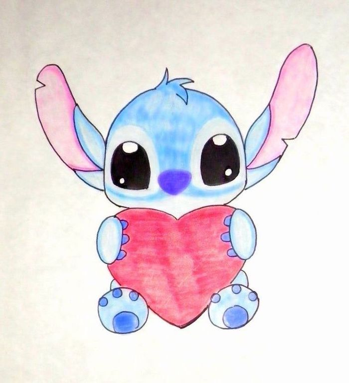 what to draw when bored, stitch from lilo and stitch, holding a red heart, watercolor drawing on white background