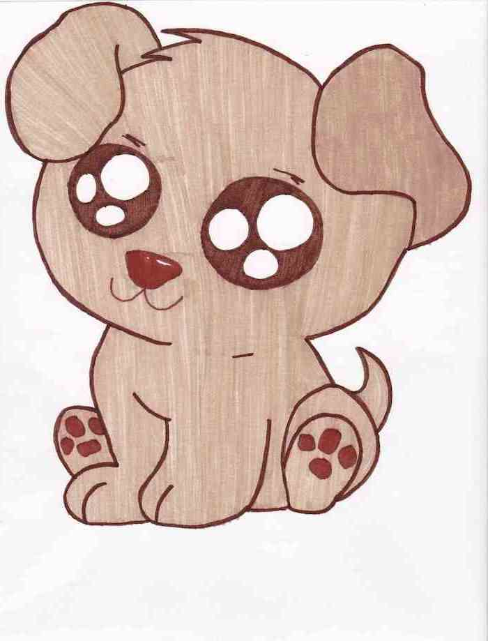 small puppy with large eyes, cute drawing ideas, colored drawing on white background
