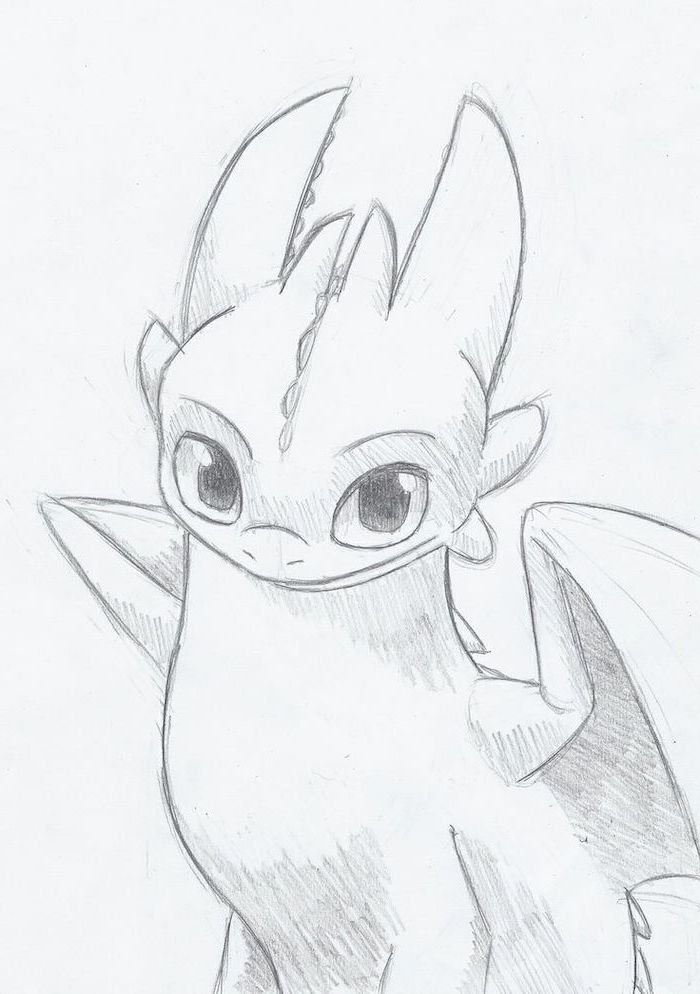 toothless from how to train your dragon, cute little drawings, black and white pencil sketch, white background