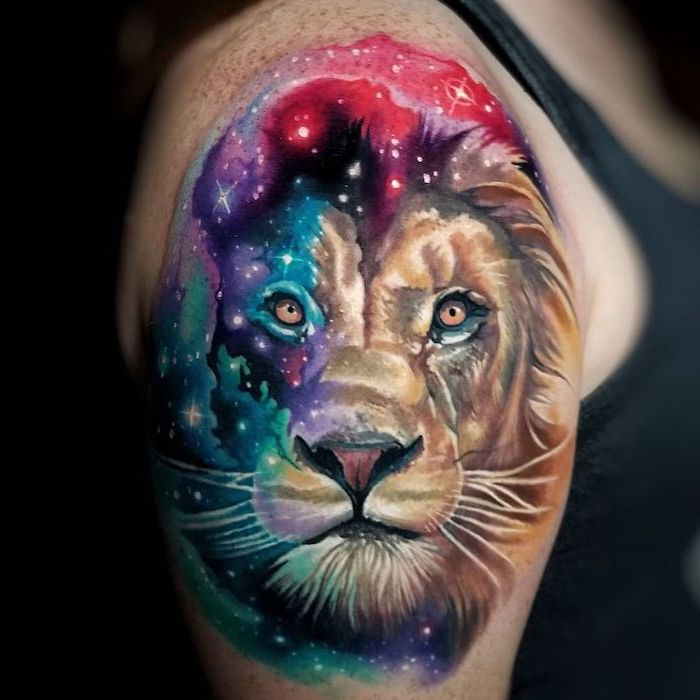 watercolor galaxy tattoo, lion thigh tattoo, lion head, half of it covered in galaxy colors, shoulder tattoo