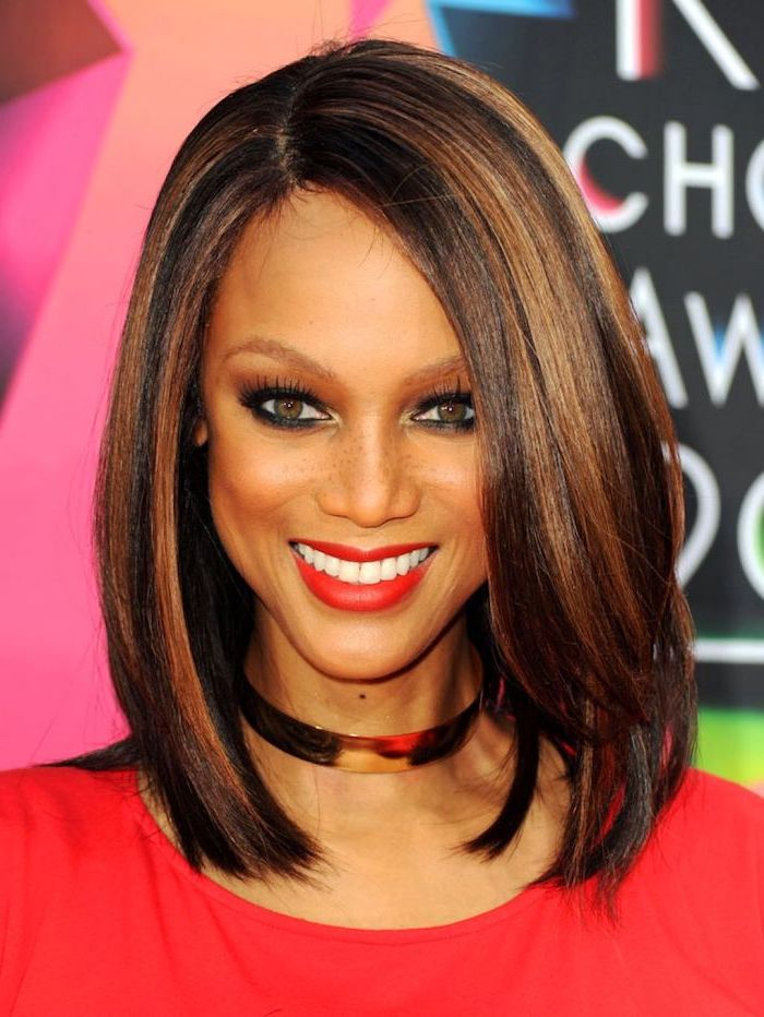 tyra banks wearing a red dress, fall hair 2020, shoulder length straight bob, dark brown hair with caramel highlights
