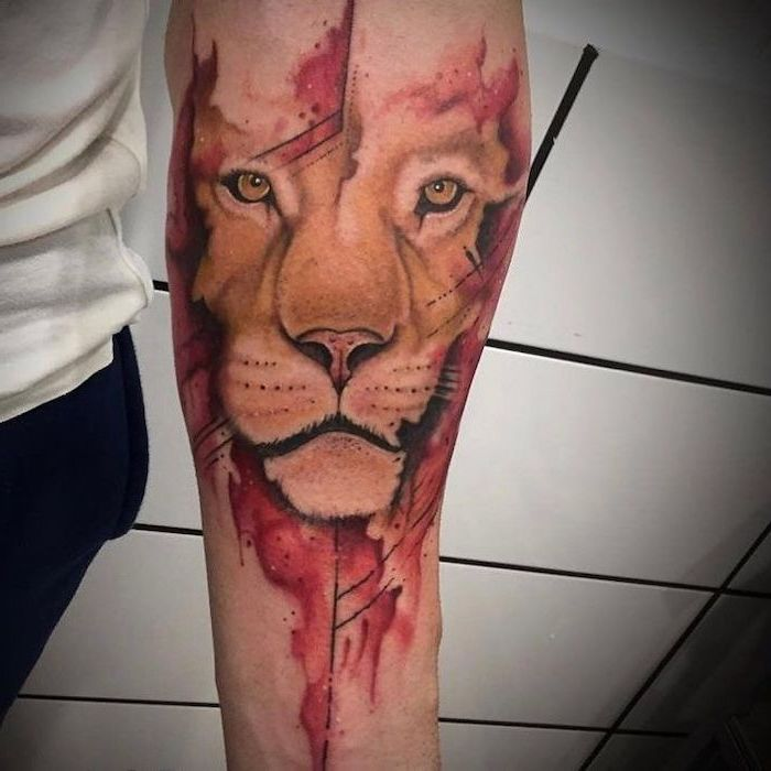 lioness head with red background, small lion tattoo, watercolor tattoo, forearm tattoo