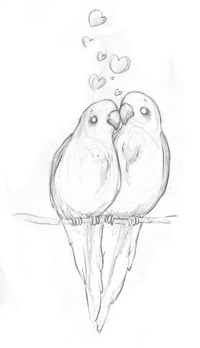 two parrots sitting on a tree branch, hearts above them, cute little drawings, black and white pencil sketch, white background