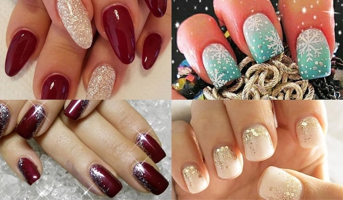 photo collage with different nails, winter nail ideas, differen colors and shapes of the nails