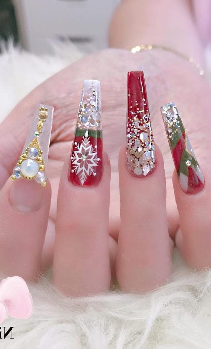 cute winter nails, long coffin nails, red and green nail polish, decorations with rhinestones on each nail