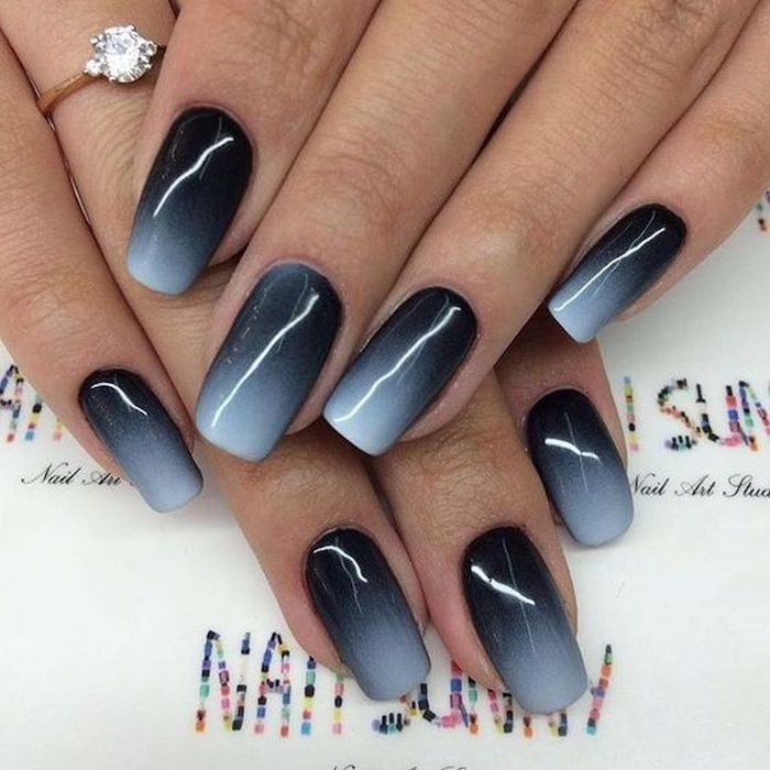 black to grey gradient nail polish, medium length squoval nails, how to do ombre nails, ring on the ring finger