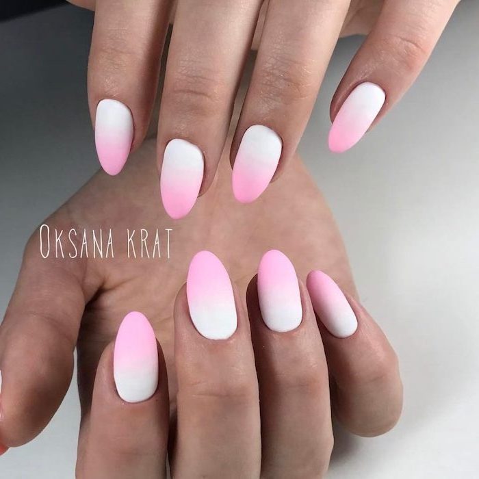 white to pink gradient matte nail polish, medium length almond nails, how to do ombre nails