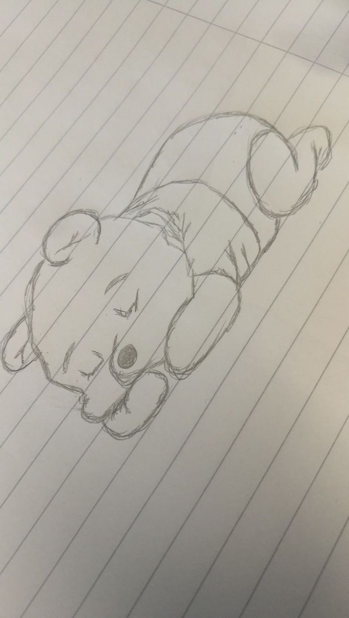 winnie the pooh sleeping, black and white pencil sketch, white background, cute little drawings, drawing in a notebook