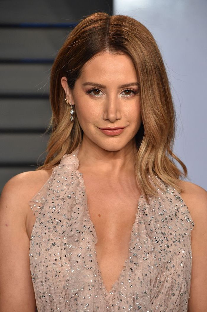 winter hair colors, ashley tisdale wearing nude dress, with silver sequins, brown balayage hair with highlights