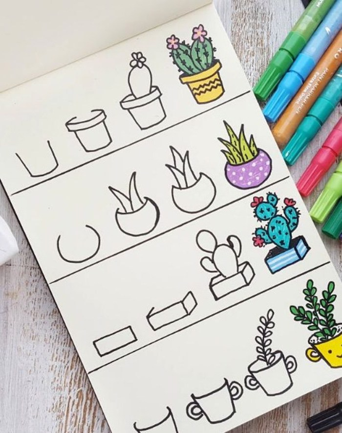 how to draw cute animals, how to draw different potted plants, step by step diy tutorial, white background