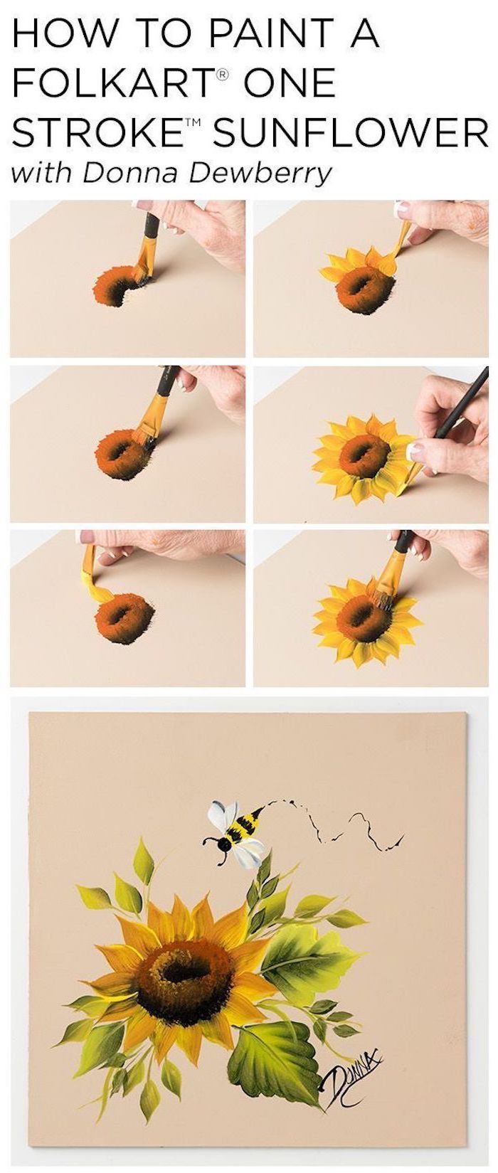 how to paint a sunflower, photo collage of step by step diy tutorial, easy acrylic paintings