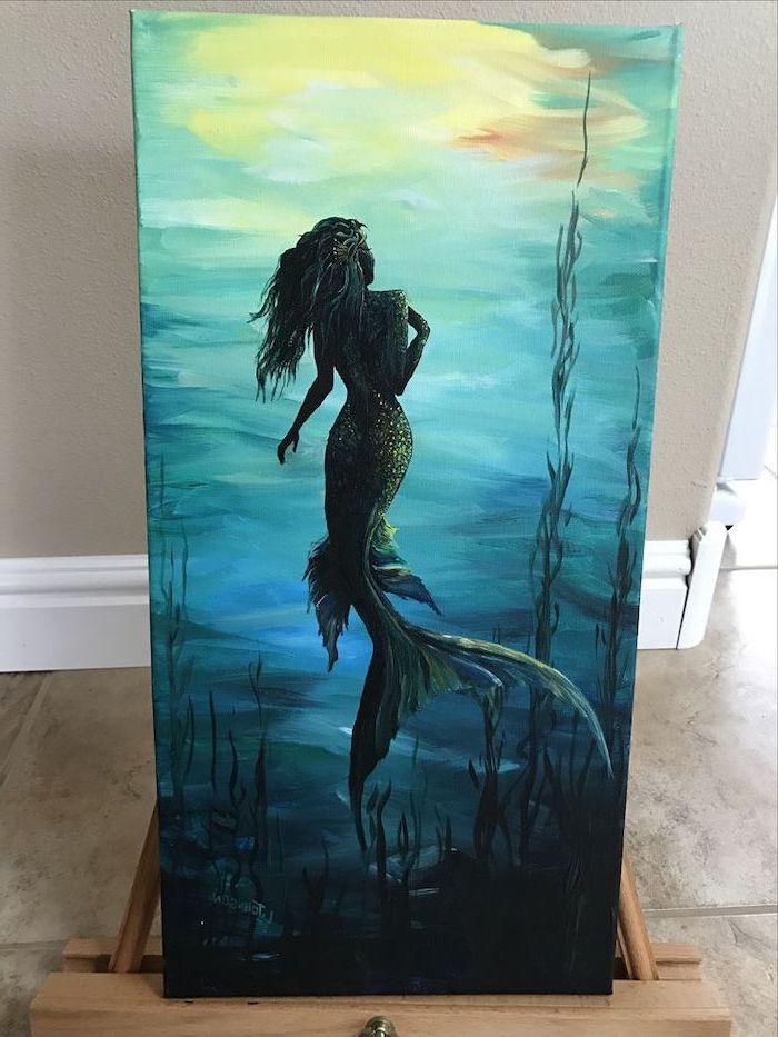 cute easy paintings, mermaid swimming in the ocean, seaweed around her, dark blue aesthetic