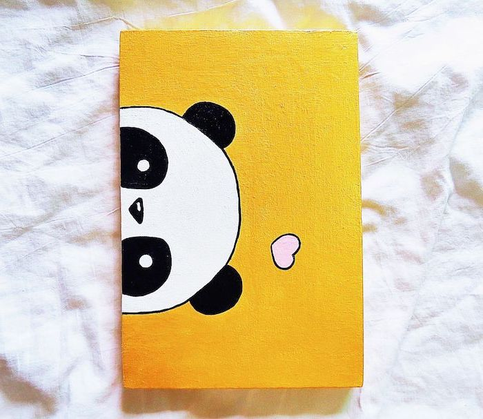 easy drawings for kids, acrylic painting of a panda's head, pink heart above it on yellow background