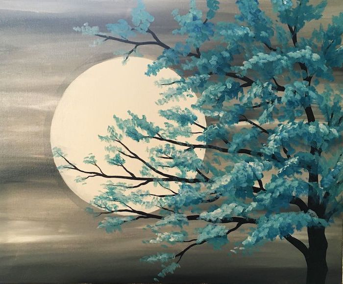 tall tree with blue blossoms at the forefront, large moon in the background, cute easy paintings, grey skies, canvas painting ideas with black background