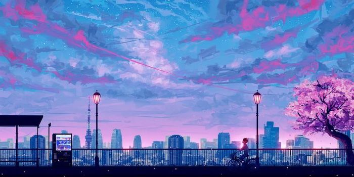 animated city skyline, aesthetic computer wallpaper, point of view from a bridge, pink purple sky with clouds
