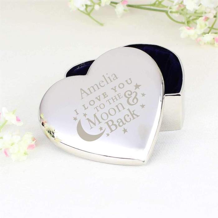 amelia i love you to the moon and back, personalised metal trinket box, valentine gift ideas, heart shaped box