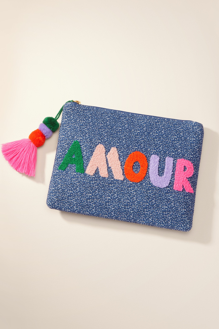 amour pouch in blue with white polka dots, valentine gift ideas, makeup pouch, colorful tassel on the zipper