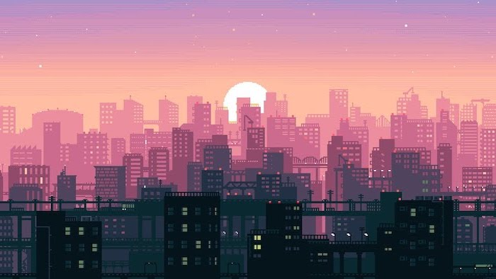 animated city skyline, sun setting over the city, aesthetic computer wallpaper, pink and black buildings