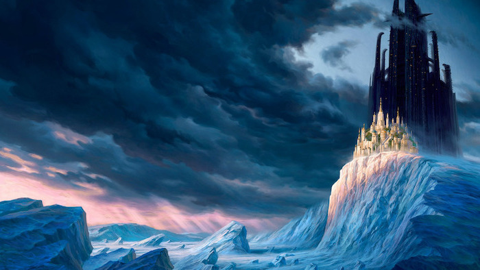 dark castle on a mountain covered with snow, aesthetic backgrounds, dark clouds in the sky, animated wallpaper