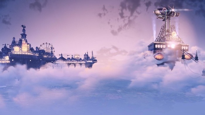 animated amusement park in the clouds, aesthetic backgrounds, ferris wheel and castle, pink and purple clouds