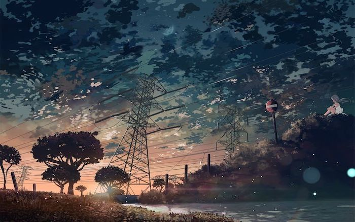 animated landscape, tall electric poles with electric cables, hanging from them over a river, pink aesthetic wallpaper