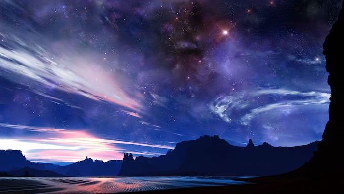 animated sky, with dark purple clouds and lots of stars, pink aesthetic wallpaper, over a dark mountain landscape