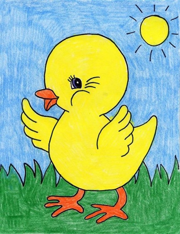 crayon drawing of yellow duck, walking on green grass, easy drawings for kids, blue sky and sun in the background