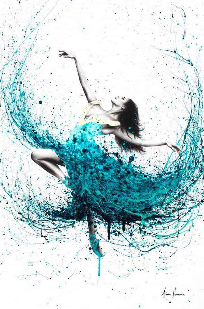 ballerina dancing, blue and turquoise colors used for dress, cute easy paintings, white background