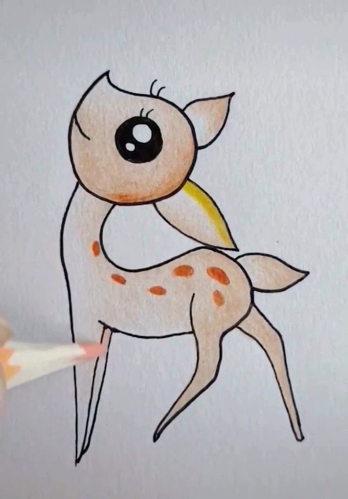 colored pencil drawing of bambi, easy drawings for kids, white background