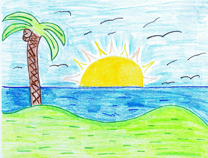 beach landscape, easy drawing ideas, sun setting over the ocean, palm tree at the front, colored with crayons