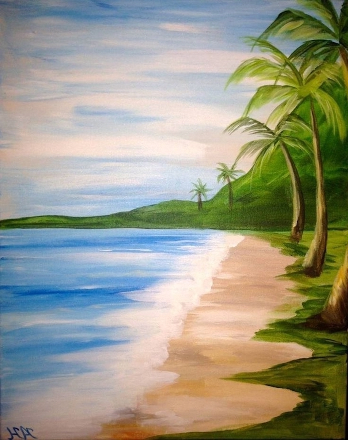 beach side landscape, tall palm trees along the coastline, cute easy paintings, ocean waves crashing into the beach