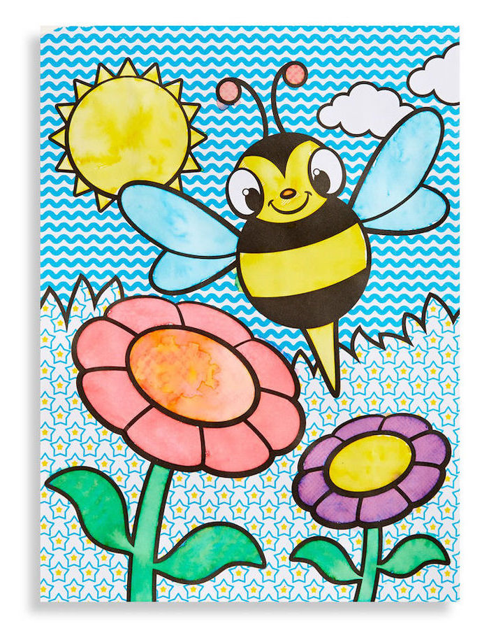 easy drawing ideas, bee flying over different flowers, sky sun and clouds in the sky, colored with acrylic paint