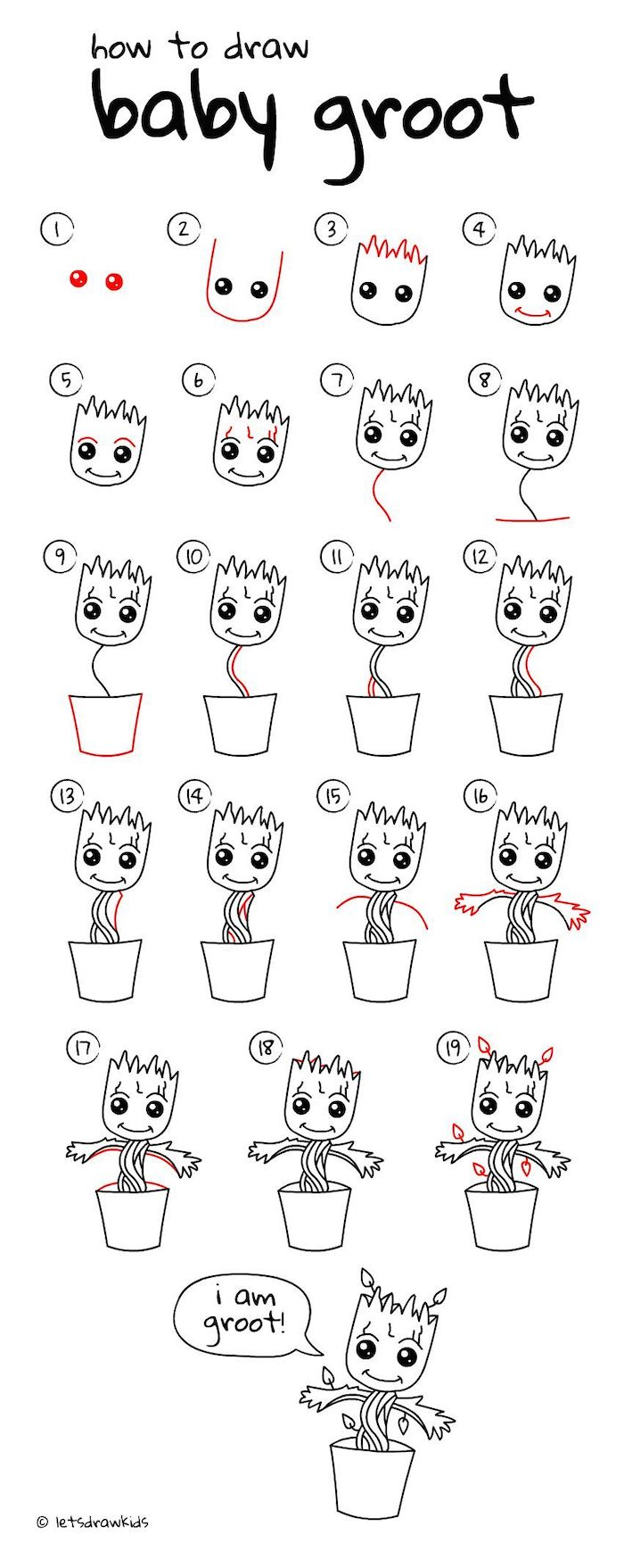 how to draw baby groot in nineteen steps, step by step diy tutorial, easy drawing ideas, black and white sketch
