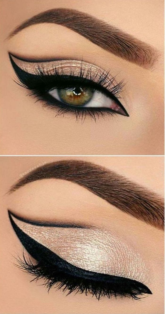 silver eyeshadow color, black cat eyeliner, woman with green eyes, thick dark eyebrows, how to apply eyeshadow