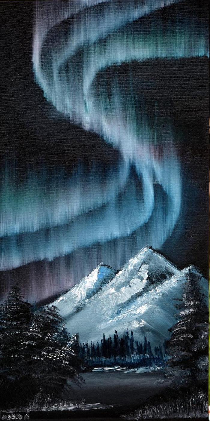 northern lights shining in the sky, mountain landscape, acrylic painting ideas, mountain covered with snow, tall dark trees