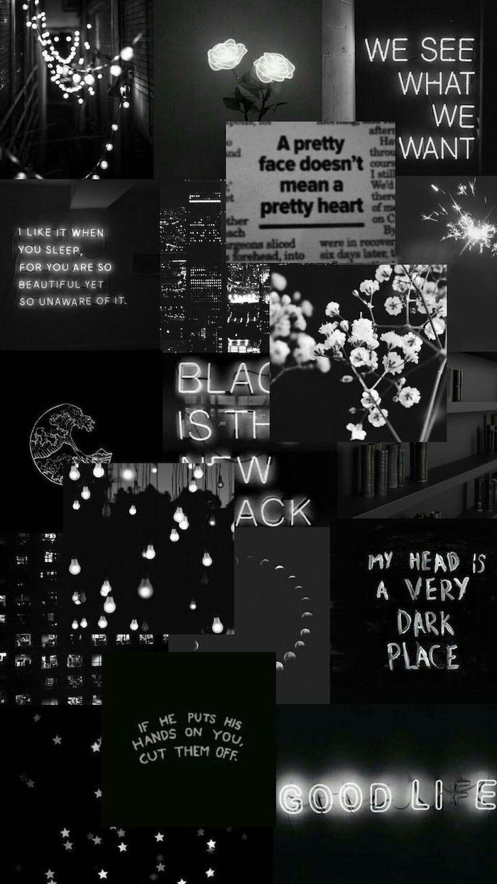 photo collage of pictures in black, different neon signs, different quotes and flowers, aesthetic iphone wallpaper, aesthetic phone backgrounds