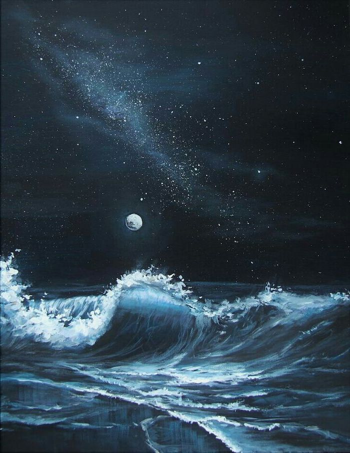 ocean waves crashing into the beach, dark black sky with lots of stars, moon low on the horizon, painting ideas for beginners