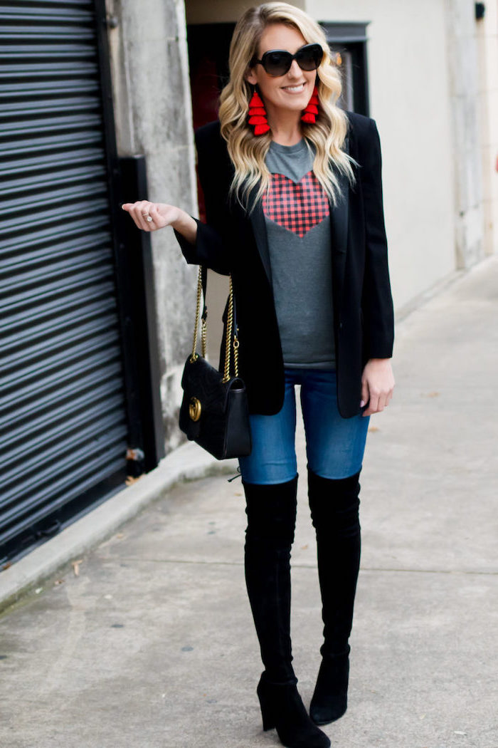 valentines day dresses, blonde woman wearing jeans and grey t shirt, black blazer, knee high black velvet boots