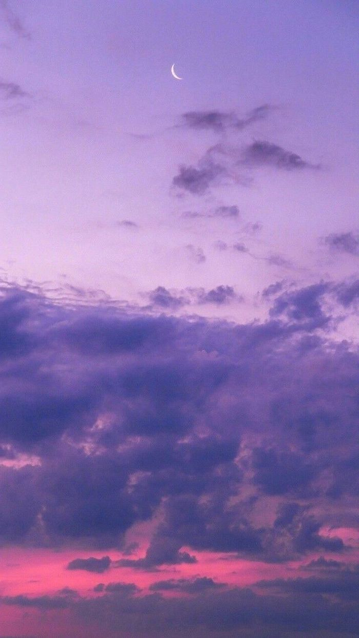 photograph of sky at sunset, aesthetic iphone wallpaper, moon already visible, pink and purple clouds