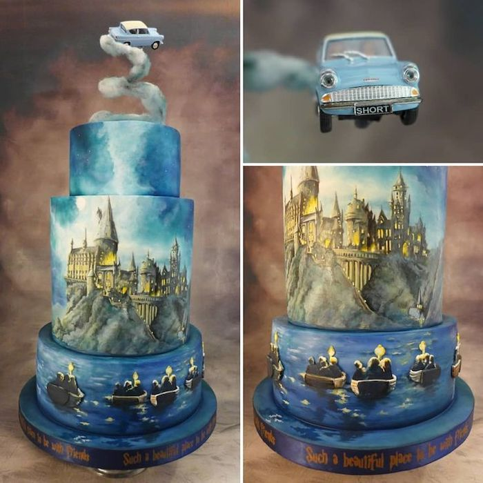 three tier cake, flying car topper, hogwarts painted on the second tier, happee birthdae harry, blue fondant