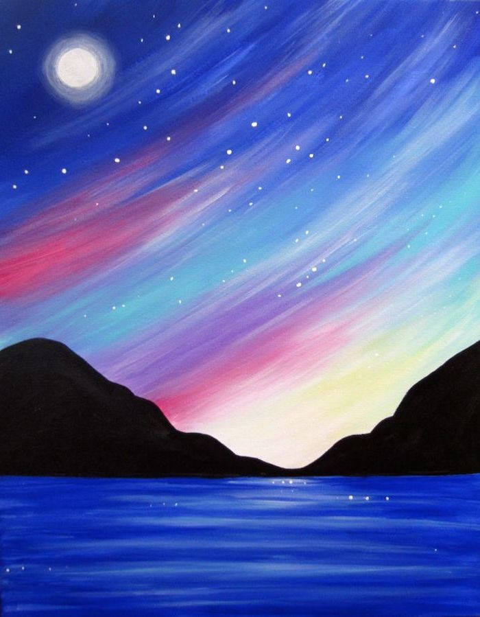 blue lake, surrounded by dark mountain, canvas painting, colorful sky at sunset, blue pink and yellow colors