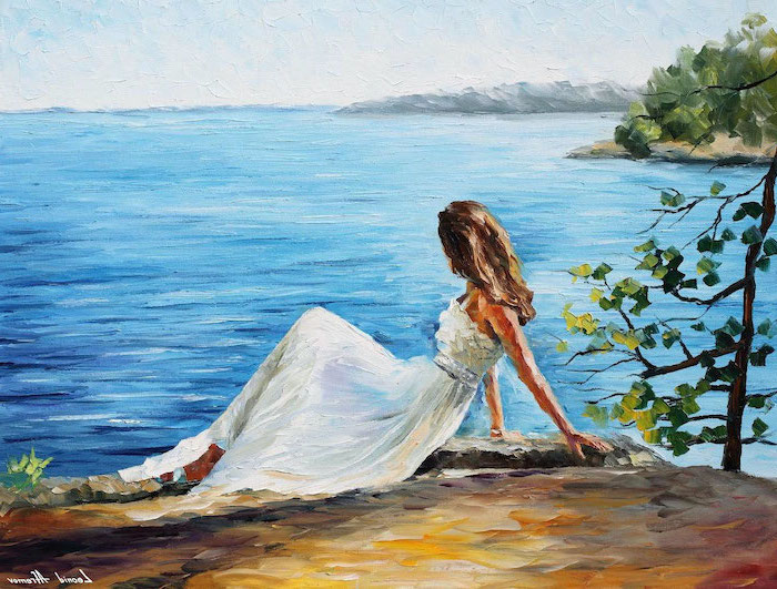 woman wearing a white dress, standing on a rock, overlooking the ocean, painting ideas for beginners, trees around her