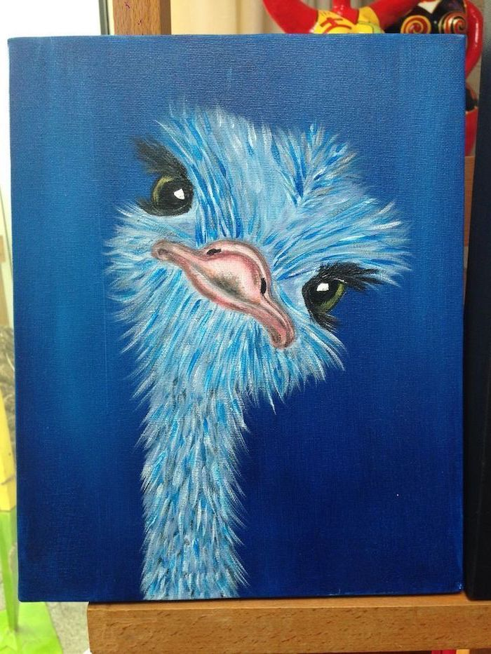 closeup of a blue ostrich with green eyes, painting ideas for beginners, dark blue background