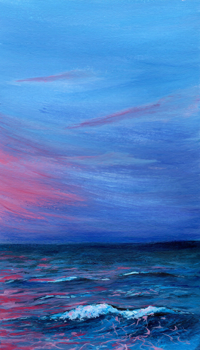 ocean waves at sunset, canvas painting, dark aesthetic, blue purple and pink colors used