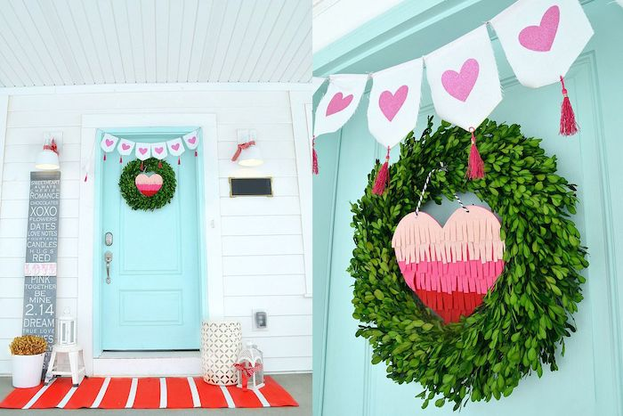 two side by side photos, turquoise door, decorated with green wreath, valentines decoration ideas, paper heart in the middle